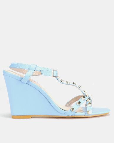 Miss Black Asia Wedge Sandals Blue