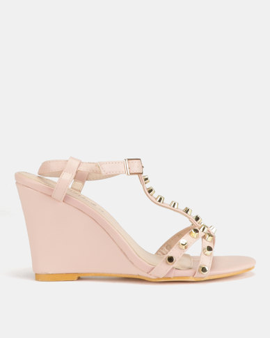 Miss Black Asia Wedge Sandals Pink