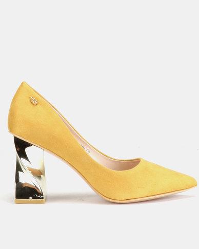Miss Black Myra Heel Courts Mustard