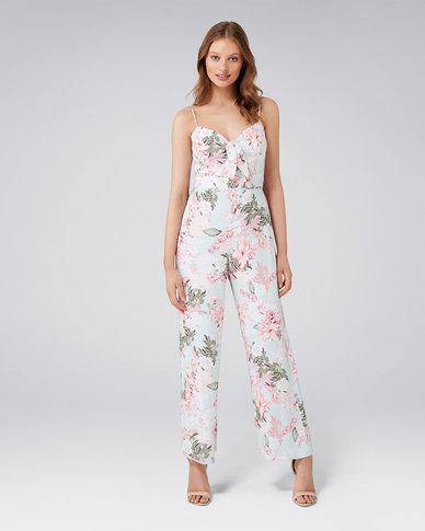 9f65f40d3b42 Forever New Tori Tie Front Wide Leg Jumpsuit Mint Floral