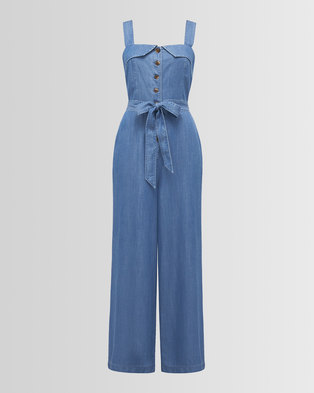 314334f4a2dd Forever New RENEE BUTTON FRONT DENIM JUMPSUIT MID WASH