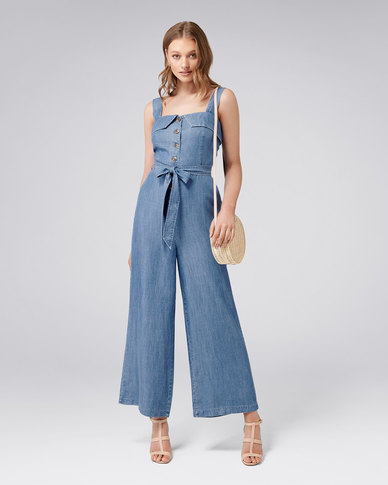 76c96188733d Forever New RENEE BUTTON FRONT DENIM JUMPSUIT MID WASH