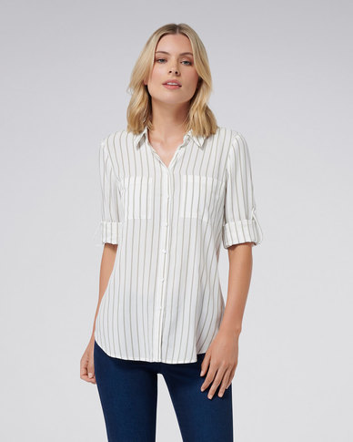 Forever New KENSIE STRIPE SHIRT SAGE STRIPE