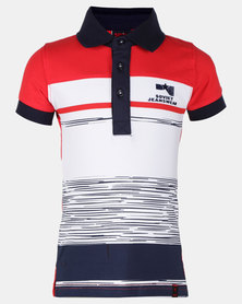 Soviet Boys Taylor Short Sleeve Stripe Golfer Multi