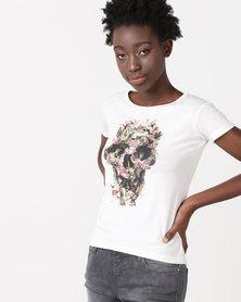 Diva FLOWER SKULL T-shirt White
