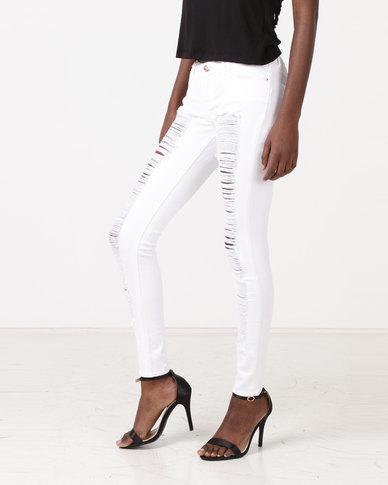 Diva Jeans Diaz Low Rise Skinny White Slash