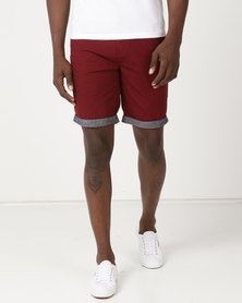 Samson Viper Chino Shorts Burgandy