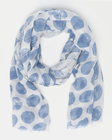 Queenspark Spot With Sequences Poly Scarf Blue