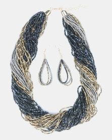 Queenspark Mini Seed Bead With Earrings Jewellery Set Multi