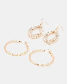 Queenspark 2 Pk Drop & Hoop Earrings Gold-Toned