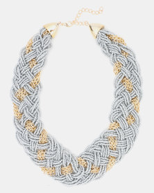 Queenspark Plaited Seed Bead With Chain Silver-Toned