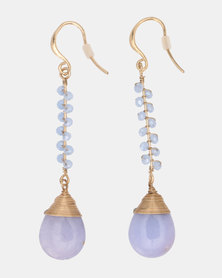 CurAtiv Budapest Natural Stone Drop Earrings Gold/Blue