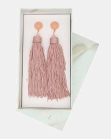 CurAtiv Manhattan Statement Tassel Earrings Gold/ Dusty Pink