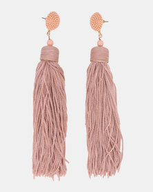 CurAtiv Manhattan Statement Tassel Earrings Gold/ Dusty Pink