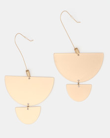 CurAtiv Arlington Statement Geo Drops Earrings Brushed Gold