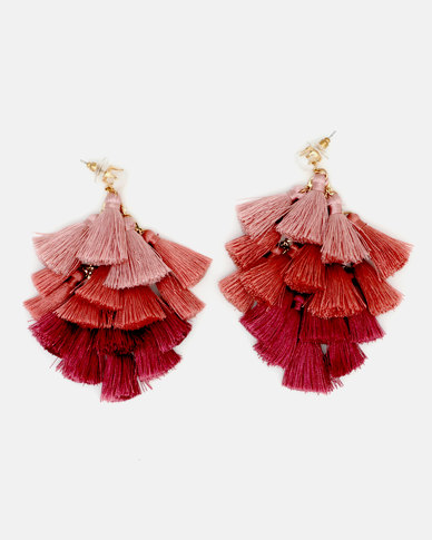 CurAtiv Berlin Ombre Tassel Statement Earrings Gold/Pink
