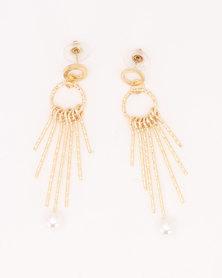 Joy Collectables Metal Tassel Earrings Gold-Toned