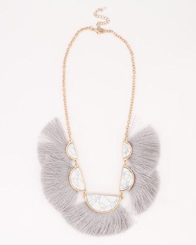 Joy Collectables Fan Tassel Necklace Grey