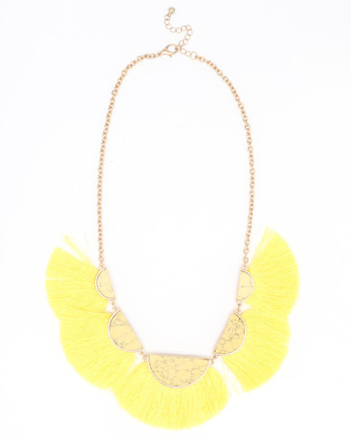 Joy Collectables Fan Tassel Necklace Yellow