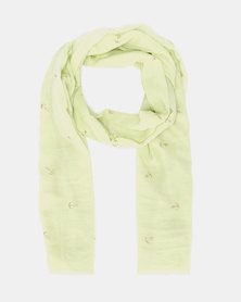 Joy Collectables Glittered Anchor Scarf Green