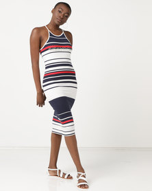 Sissy Boy High Neck Logo Stripe Dress Multi