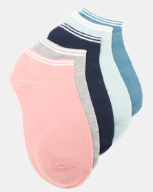 Joy Collectables 5 Pack Top Striped Ankle Socks Multi