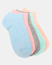 Joy Collectables 5 Pack Textured Ankle Socks Multi