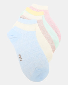 Joy Collectables 5 Pack Contrast Ankle Socks Multi