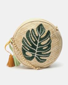 Joy Collectables Straw Circle Crossbody Bag Delicious Monster Natural