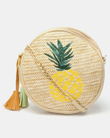Joy Collectables Straw Circle Crossbody Bag Pineapple