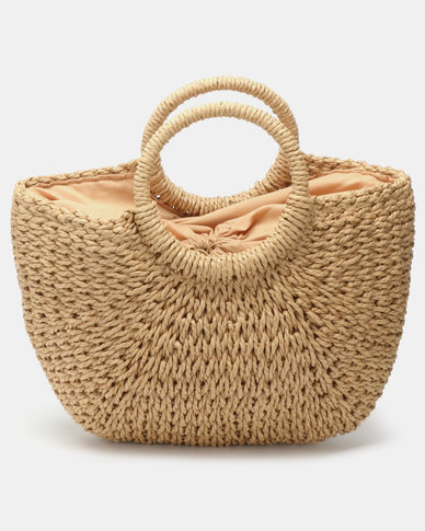 Joy Collectables Woven Straw Bag Natural