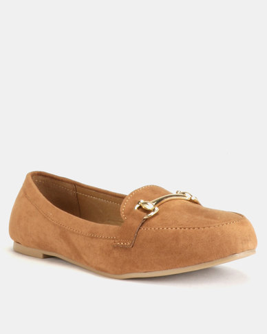 New Look Wide Fit Lingo Suedette Loafers Tan