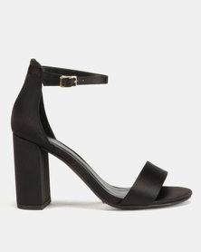 New Look Wide Fit Thick Satin Block Heel Sandals Black