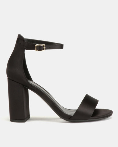 New Look Wide Fit Thick Satin Block Heel Sandals Black