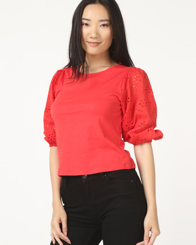 New Look Brod Woven Sleeve Tee Bright Red