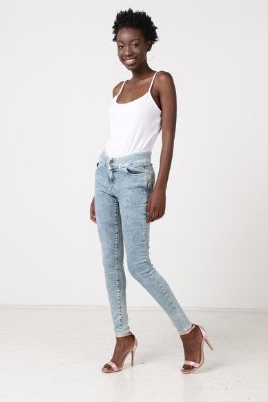 Diva Jeans Akiko Mid Rise Super Skinny Jeans Blue Cloud