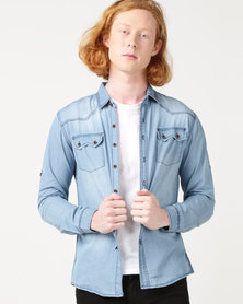 Utopia 100% Cotton Denim Shirt Light Blue