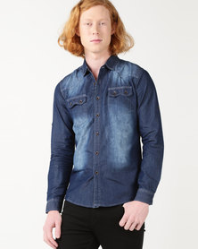 Utopia 100% Cotton Denim Shirt Dark Blue