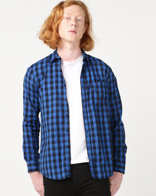Utopia Check Shirt Dark Blue