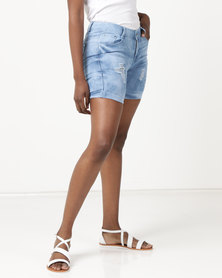 Utopia Denim Shorts With Turn Up Light Wash