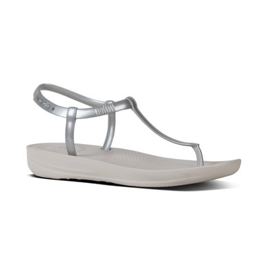 buy cheap 13ba4 d4cdc FitFlop iQushion Metallic Splash Pearlised Flip Flops Silver