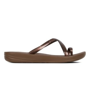 76f8e8dbcca9 FitFlop iQushion Metallic Wave Pearlised Flip Flops Bronze