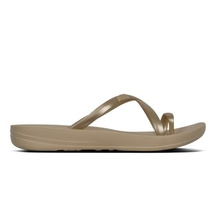 2e78138b3 FitFlop iQushion Metallic Wave Pearlised Flip Flops Gold