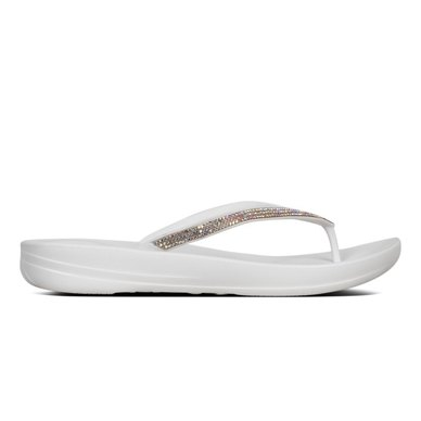 1b8bec169183d FitFlop iQushion Sparkle Flip Flops Urban White
