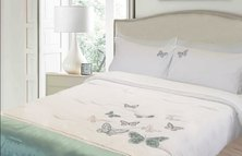 Lush Living Butterfly Embroidered Duvet Comforter Set White
