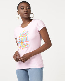 T-Shirts For Change Yes Girl Yes Light Pink