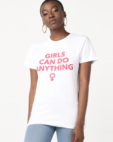 T-Shirts For Change Girls Can Do Anything Tee White