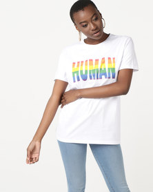 T-Shirts For Change Human Tee Unisex White