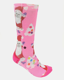 Stance Santipaws Crew Socks Pink