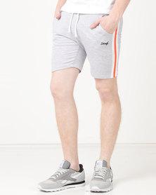 Unruly Side Stripe Shorts Grey Mel/Black/Orange